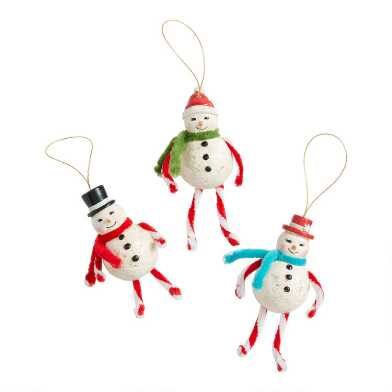 Retro Paper Pulp Snowman Ornaments Set of 3