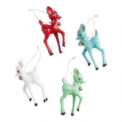 Retro Deer with Bow and Bell Ornaments Set of 4