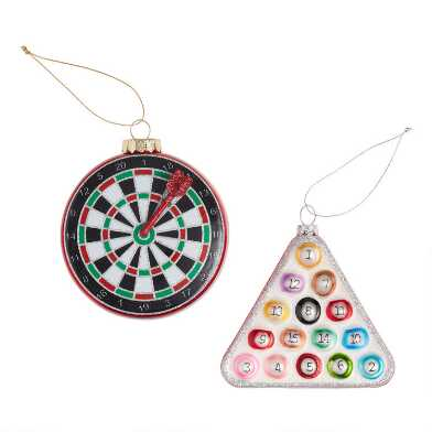 Glass Game Icon Ornaments Set of 2