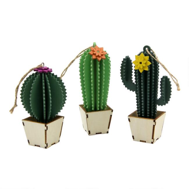 Wood Potted Cactus Ornaments Set of 3