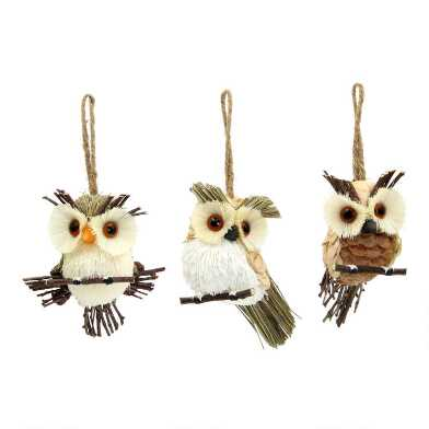 Natural Fiber Woodland Owl Ornaments Set of 3
