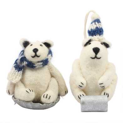 Felted Wool Sledding Polar Bear Ornaments Set of 2