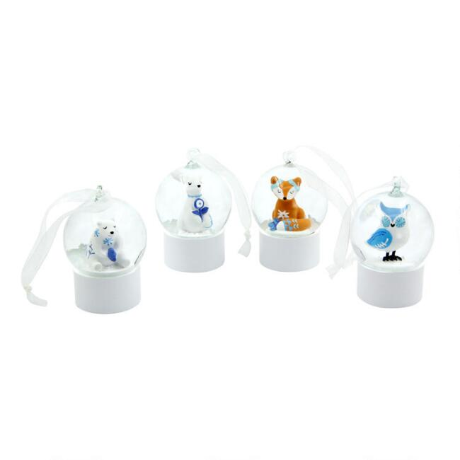 Glass Arctic Animal Snow Globe Ornaments Set of 4