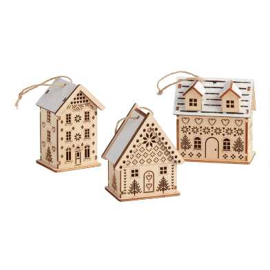 Wood Snowy Nordic House Ornaments Set of 3