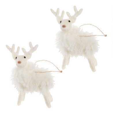 White Woolly Faux Fur Deer Ornaments Set of 2