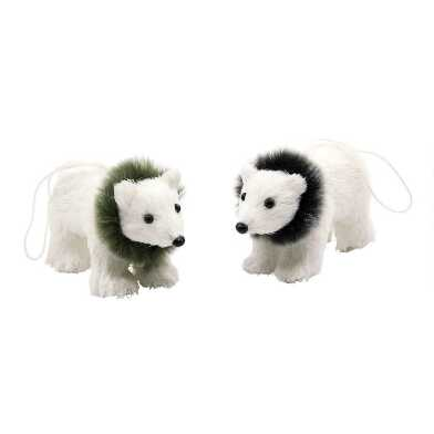 White Natural Fiber Polar Bear Ornaments Set of 2