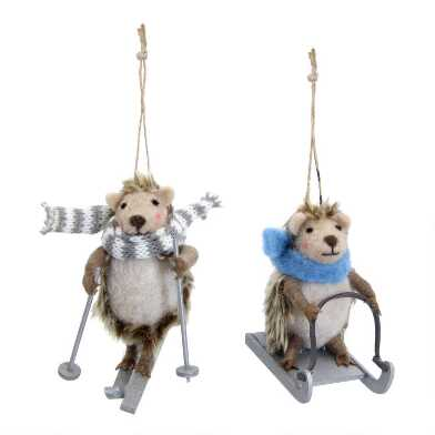 Felted Wool Skiing and Sledding Hedgehog Ornaments Set of 2