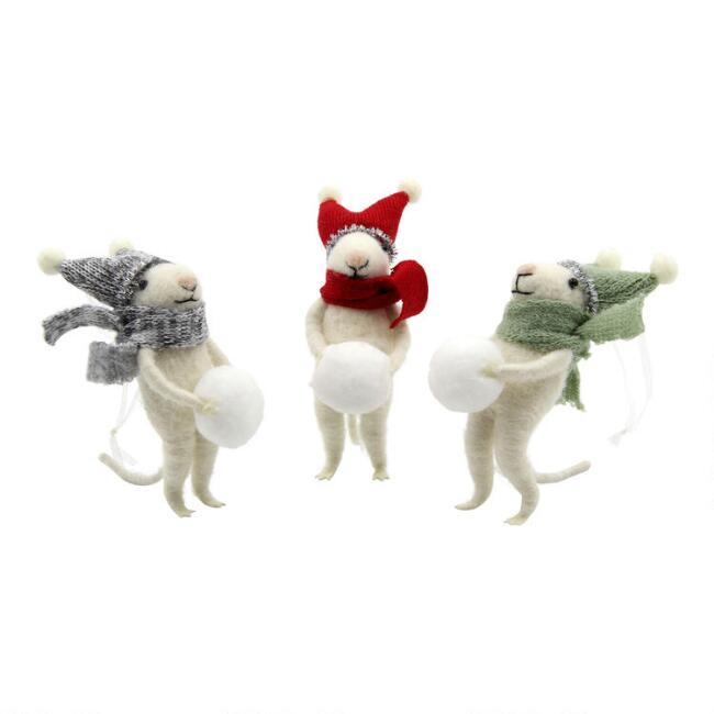 Felted Wool Mice with Snowball Ornaments Set of 3