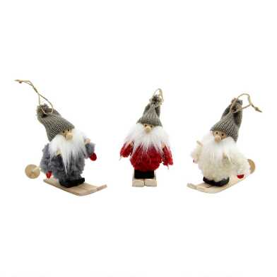 Wood and Fleece Skiing Gnome Ornaments Set of 3