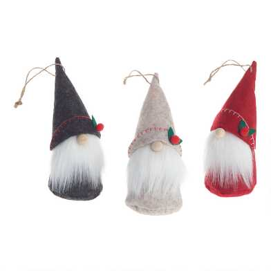 Felted Wool Gnome with Holly Hat Ornaments Set of 3