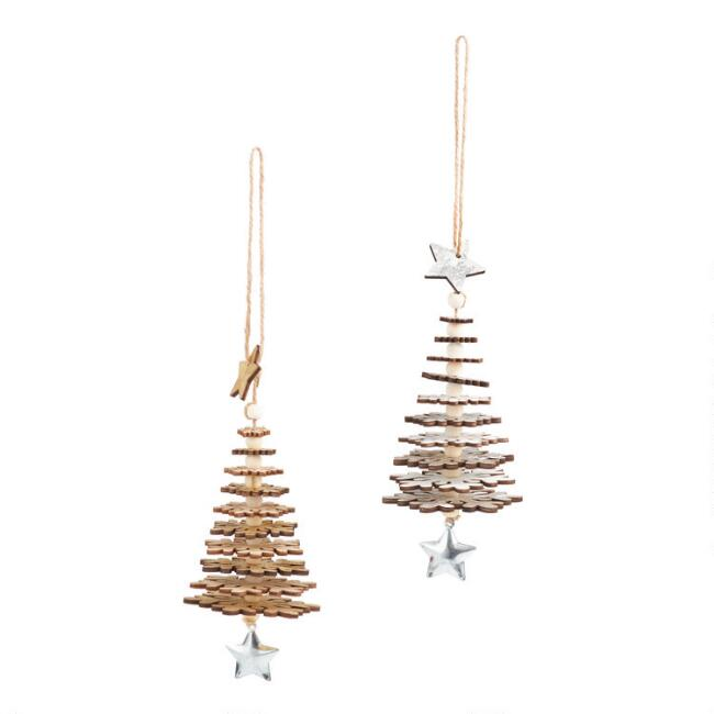 Wood Snowflake Tree with Stars Ornaments Set of 2