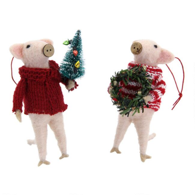 Felted Wool Christmas Pig Ornaments Set of 2