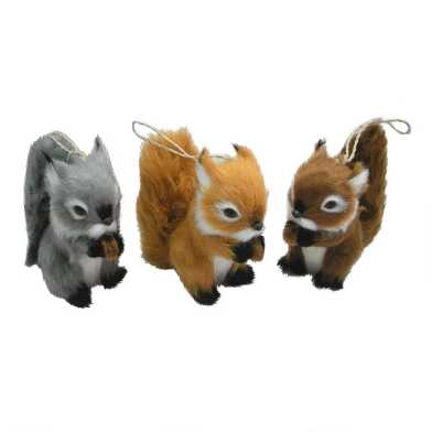 Faux Fur Chipmunk with Nut Ornaments Set of 3