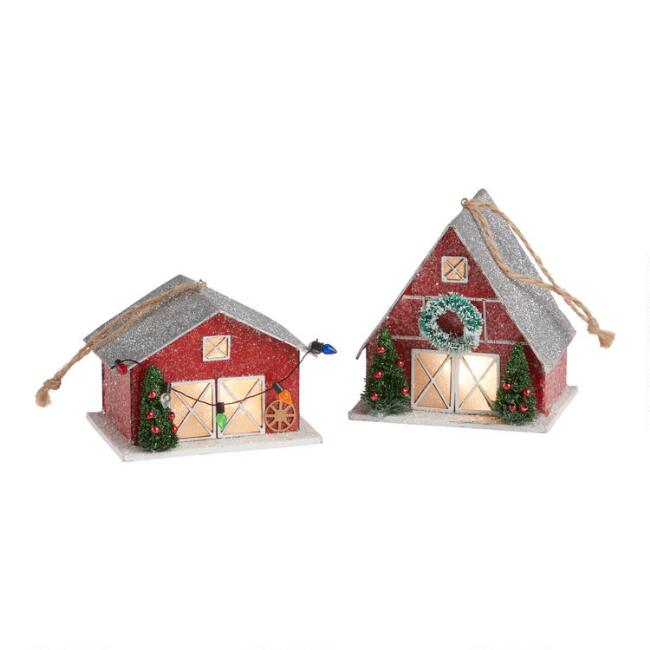 Glittered Red Barn LED Light Up Ornaments Set of 2