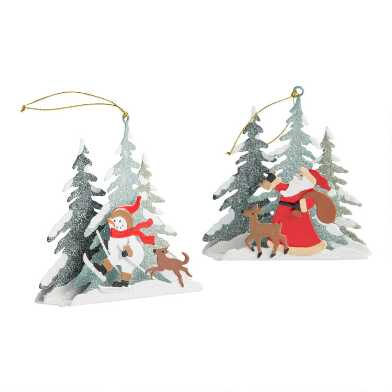 Metal Christmas Scene Ornaments Set of 2