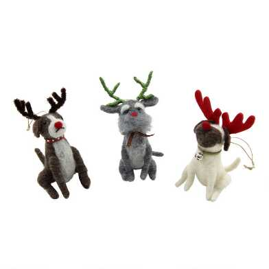 Felted Wool Dog with Antlers Ornaments Set of 3