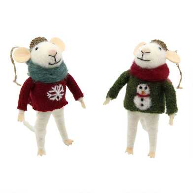 Felted Wool Mouse in Sweater Ornaments Set of 2