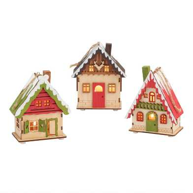 Wood Alpine Cottage LED Light Up Ornaments Set of 3