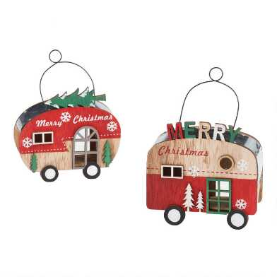Metal and Wood Christmas Trailer Ornaments Set of 2