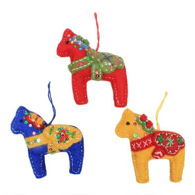 Multicolor Felted Wool Swedish Horse Ornaments Set of 3