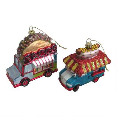 Glass Hot Dog and Taco Truck Ornaments Set of 2