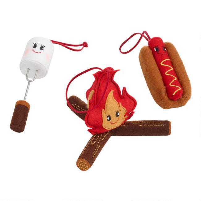 Felt Campfire Icon Ornaments Set of 3