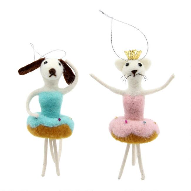 Felted Wool Dog and Cat Donut Ballerina Ornaments Set of 2