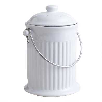 White Ceramic Compost Bucket with Filter