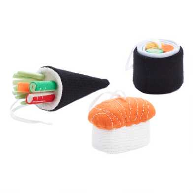 Felt and Knit Sushi Ornaments Set of 3