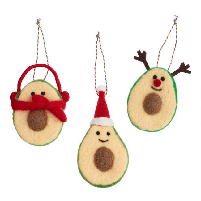 Felted Wool Festive Avocado Ornaments Set of 3