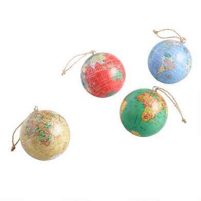 Paper Wrapped World Globe Ornaments Set of 4