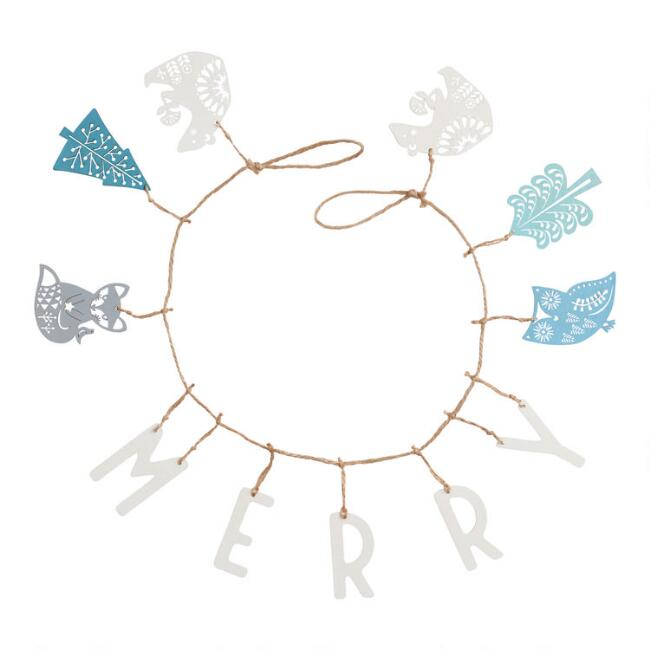Wood and Jute Merry Nordic Holiday Garland