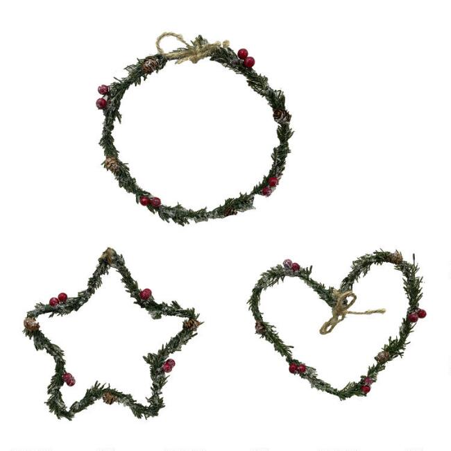 Thin Pinecone and Berry Wreaths Set Of 3