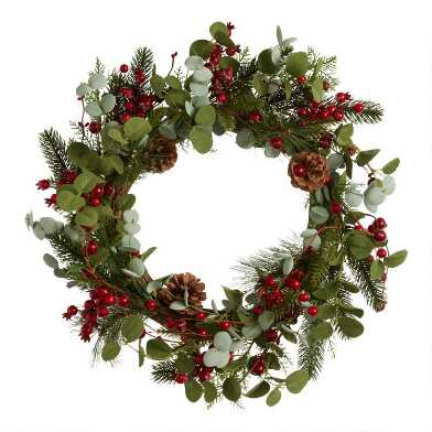 Faux Eucalyptus and Pine with Red Berries Wreath