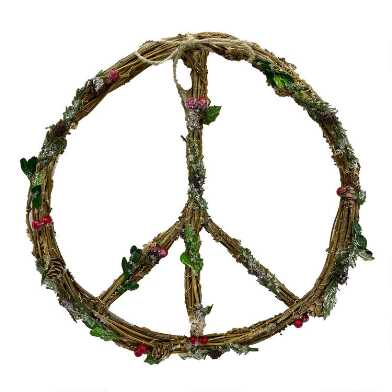 Twig Peace Sign Wreath with Berries Hanging Decor