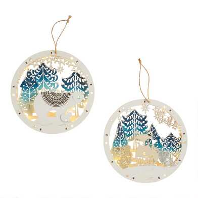 Round Nordic Scene LED Light Up Hanging Decor Set Of 2