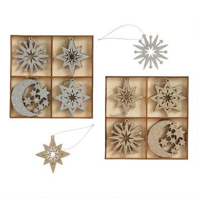 12 Pack Wood Moon and Star Boxed Ornaments Set Of 2