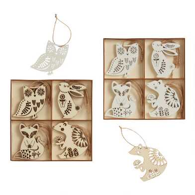 12 Pack Wood Nordic Animal Ornaments Set Of 2