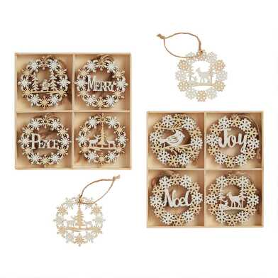 12 Pack Wood Snowflake Wreath Ornaments Set Of 2