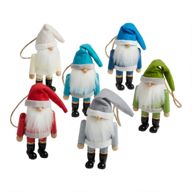 3 Pack Wood and Felt Gnome Boxed Ornaments Set Of 2