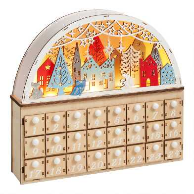 Wood Nordic Winter LED Light Up Countdown Calendar
