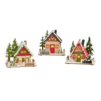 Wood Alpine Cottage LED Light Up Decor Set of 3