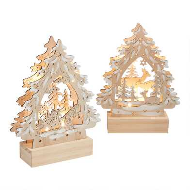 Wood Winter Tree Scene LED Light Up Decor Set Of 2
