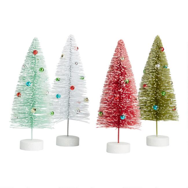 Retro Tabletop Trees with Ornaments Set of 4