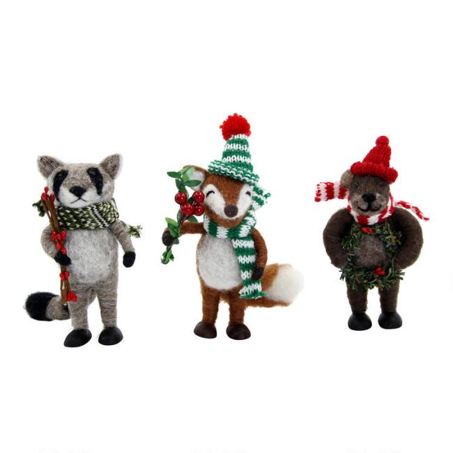Felted Wool Holiday Woodland Creature Decor Set of 3