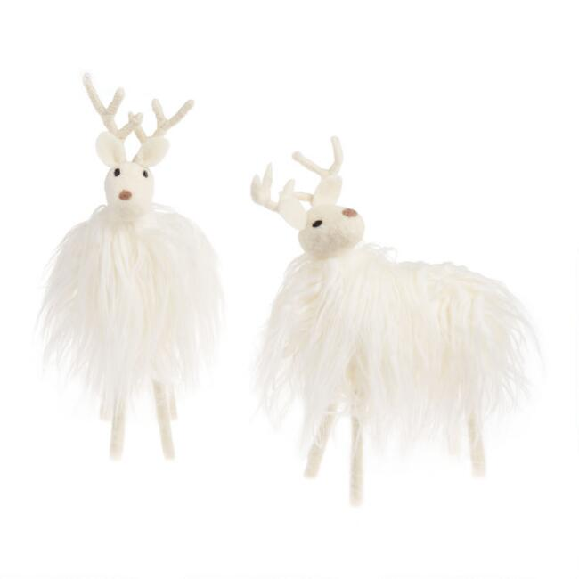 White Woolly Faux Fur Deer Decor Set Of 2