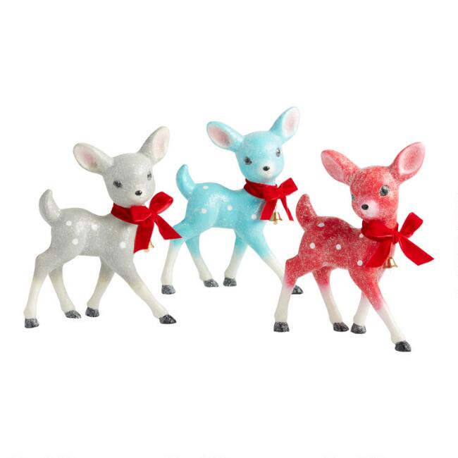 Retro Paper Pulp Deer with Bow and Bell Set of 3