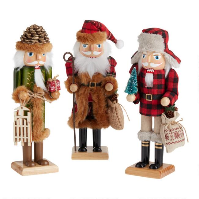 Rustic Woodland Santa Nutcrackers Set of 3