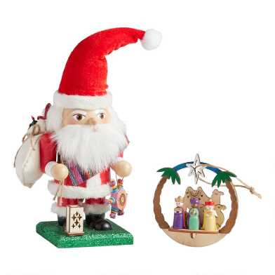 Mexican Santa Clos Nutcracker and 3 Kings Ornament Set