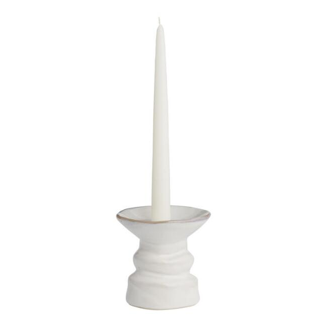 Large White Ceramic Pillar and Taper Candleholder